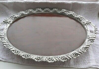 Stunning Victorian Silver Plated  Footed Serving Tray Mahogany Inlay Tray