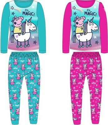Girls Peppa Pig Long Sleeve Pyjamas 100% Cotton Pink Blue Unicorn Long Bottoms