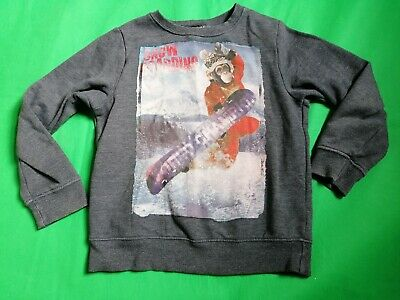 Next Boys Snowboarding Monkey Sweatshirt Jumper Age 7 grey good condition