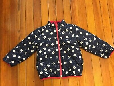 Kids Girls Reversible Jacket Pink / Floral Blue Size 110 4-5 Years