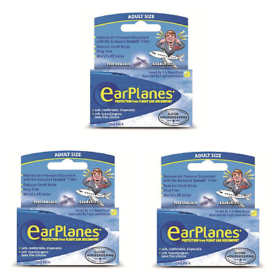 Flying Earplanes (3 Pairs) - Adult 12+ Ear Plugs - Flight Ear Pain Protection