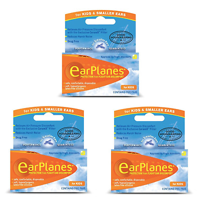 Flying Earplanes (3 Pairs) For Kids -  Ear Plugs - Flight Ear Pain Protection