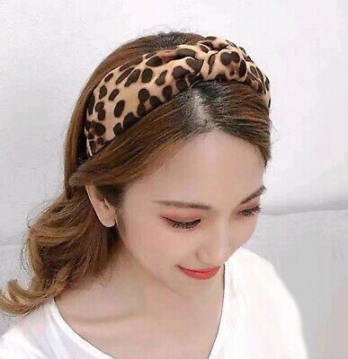 Ladies Womens Girls Animal Print Leopard Fabric Knot Hairband Alice Band Uk