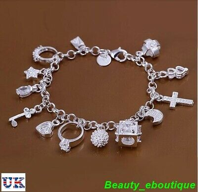 Ladies 925 Sterling Silver Charm Bracelet with 13 Charms + Free Gift Bag!