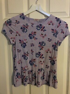 Girls Age 9-10 Years Cath Kidston CK Purple Floral Tshirt Peplum Top
