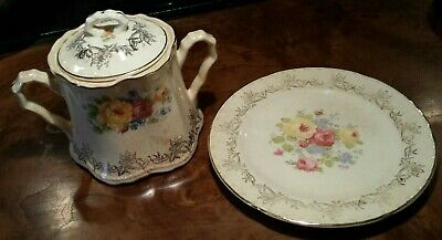 "Vintage Crooksville floral bouquet sugar bowl with lid #746, and 5"" plate #946"