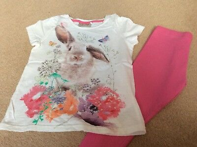 Next Girls Bunny Tshirt And Pink Leggings Bundle Size 4-5 Years NEW!
