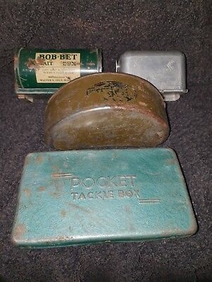 Vintage Group Fishing Bait Cans Boxes,Bob Bet, Worm x 3, steel pocket tackle box
