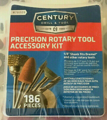 "Century Drill & Tool Corp. 186-Piece Rotary Tool Accessory Kit. fits 1/8"" shank"