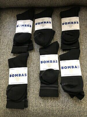 Lot Of 6 Pairs Bombas Calf Socks Black W/ Gray Stripe Size Large (9.5 - 13) NEW
