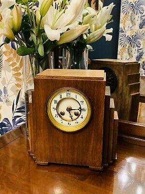 Sumptuous 1920 Art Deco French Oak Cased Mantle Clock