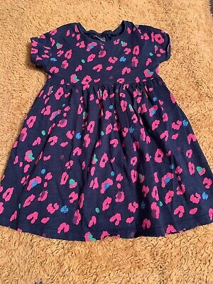Girls Navy And Pink Leopard Print Dress From Next Age 2-3 Years