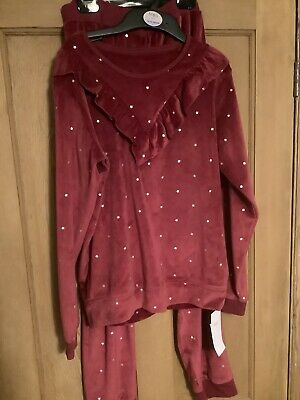 M&S Girls Velour Ruffle Pyjamas, Age 12-13 Years, Raspberry Red, BNWT