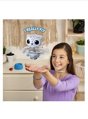 Owleez.Flying Baby Owl Interactive Toy w/ Lights and Sounds (White). For Kids 6+