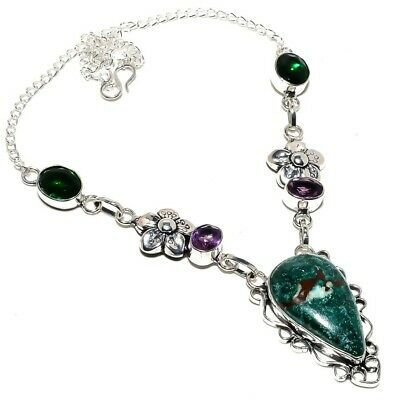 """Turquoise, Amethyst Ethnic 925 Sterling Silver Jewelry Necklace 18"""" 8390"""