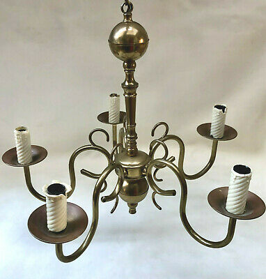 Vintage French Five Arm Brass Chandelier Flemish Style Ceiling Light, Lighting