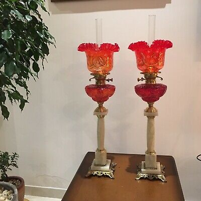 Huge Pair Of Oil Lamps With Hand Painted Glass Shades & Baccarat Style Font 35""