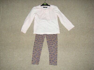 Girls Pink and Brown Top and Leggings Age 3-4 Years from George and Monsoon