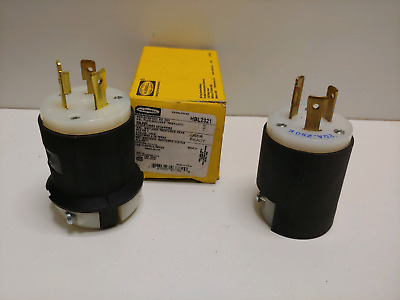 2 HUBBELL HBL2321 TWIST AND LOCK 20A 250V MALE PLUG