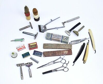 Antique Vintage Barber Lot Razors Shaving Brushes Blades Scissors Gem Plumacher