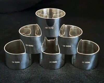 Antique sterling silver Napkin Rings.Of plain form.Sheffield 1928 .By Atkin Bros