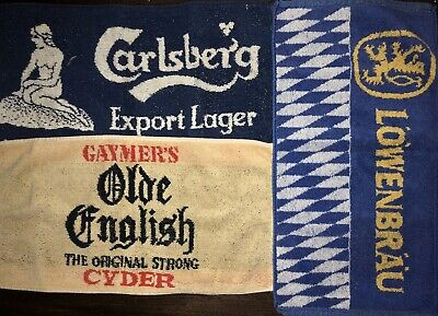 Antique Vintage (3) Beer Towels Used Very Old Possibly German And English