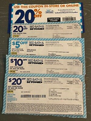 Lot of 5 Bed, Bath & Beyond Coupons-$20, $10, $5 and 20% off Fast Shipping