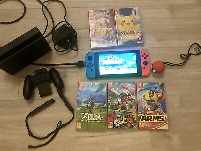 Nintendo Switch Bundle! Neon Red/Blue With 5 Games Inc Pokemon Go + Accessories