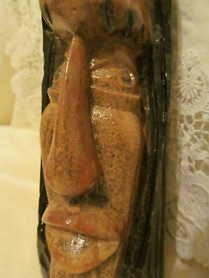 Unique Antique/Vintage Wooden Hand Carved Man's Tribal/Native Face Bust