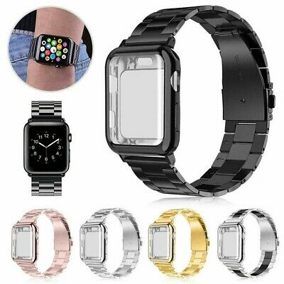 Stainless Steel Band Strap + Case Cover For Apple Watch Series 5 4 3 40mm 44mm