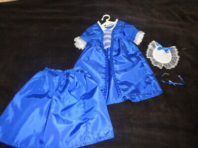 American Girl Felicity Doll Christmas Blue Dress & necklace Set & hat set