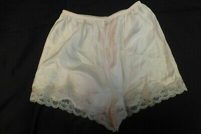 M 6 Vintage Pink Silky Nylon  Lily of France Panty Scalloped Lace Long Leg Sissy