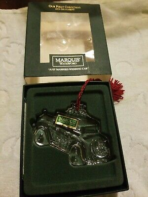 Waterford Marquis Ornament Crystal Glass Car 2003 Our First Christmas Married W