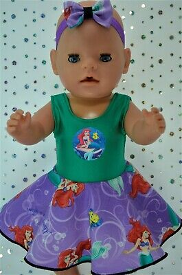 """PlaynWear Dolls Clothes For 17""""Baby Born CIRCLE DRESS/BUILT IN KNICKERS~HEADBAND"""