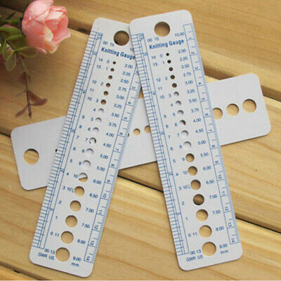 Knitting Accessories Needle Gauge Inch Sewing Ruler Tool CM 2-10mm Size Measu3C