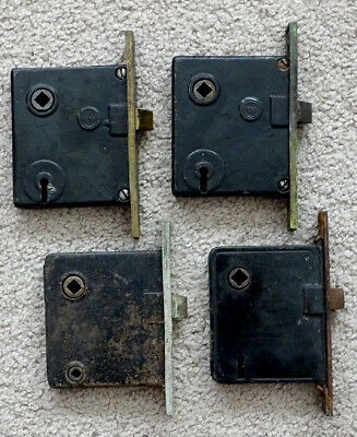 Lot of 4 ANTIQUE Vintage 1800's VICTORIAN Salvage MORTISE Skeleton Key DOOR LOCK