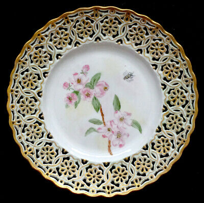 MEISSEN Antique HAND PAINTED Reticulated FLORAL & BUMBLE BEE Porcelain Plate