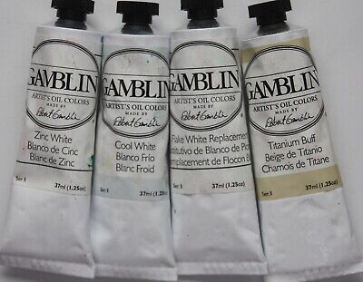 4 Gamblin Oil Paint-FOUR TYPES OF WHITE - series 1