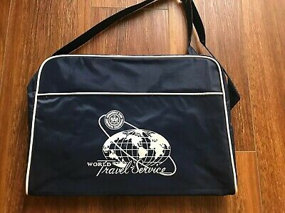 1960/'s Tote Carry-On Bag in Blue and White from AAA World Travel Agency.