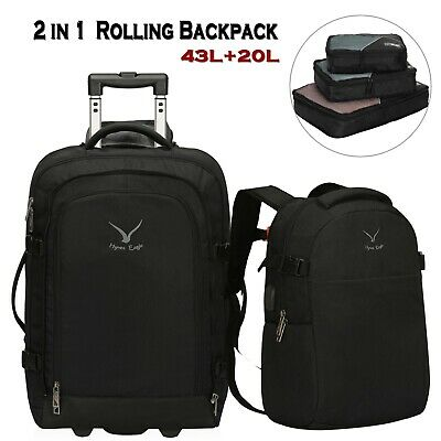 Hynes Eagle 2 in 1 Travel Rolling Backpack Carry on Wheeled Luggage Packing Cube