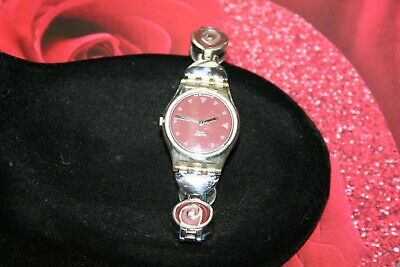"Swatch Women's Retro Roses Watch UK Release AG 2003 Stainless Steel Band ""NICE"""