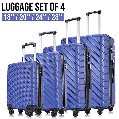 4PCS Hardshell Lightweight Spinner Luggage Set Travel Suitcase ABS Trolley Blue