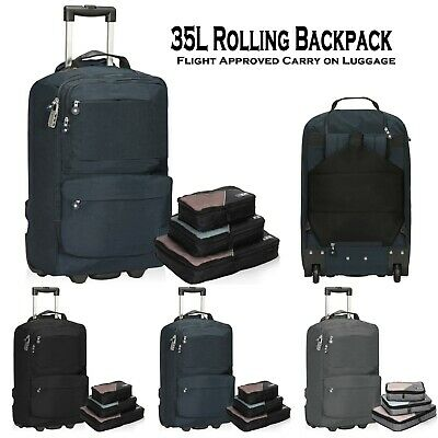 Hynes Eagle 35L Carry on Rolling Backpack Flight Approved Wheeled Travel Luggage
