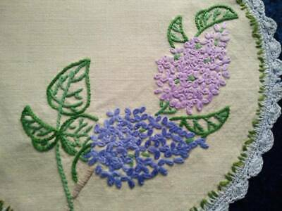 Beautiful Lilac Flowers  Vintage Embroidered Small Centrepiece/Large Doily