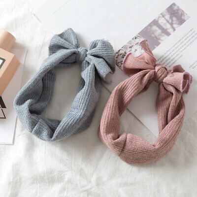 Baby Girls Hairband Knitted Crochet Bow Knot Hair Band Winter Headband Headwrap