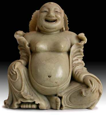 19th Century Antique Chinese Carved Budai Hotei Laughing Buddha 大笑佛 Soapstone St