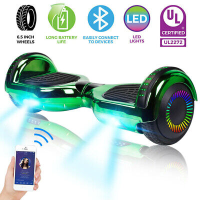 "6.5"" Hoverboard Bluetooth Chrome Electric Self Balancing Scooter + Bag - Green"