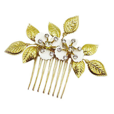 Womens Vintage Rhinestone Flower Hair Comb Elegant Hair Jewelry GF Fiancee Gifts