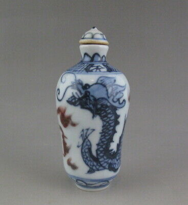 Chinese Old Underglaze red Blue and White Porcelain Snuff Bottle-Dragon Cloud