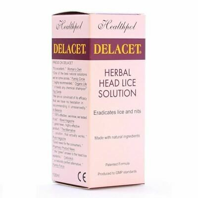 Delacet Herbal Head Lice Solution 100ml New